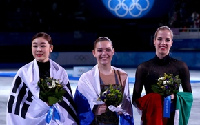 Kim Yong-A, Adelina Sotnikova, Carolina Kostner, skater, figure skating, pedestal, flags, Flowers, Olympic rings, Smiles, Sochi 2014, sochi 2014 olympic winter games, XXII Olympic Winter Games, sochi 2014, Korea, Russia, Italy