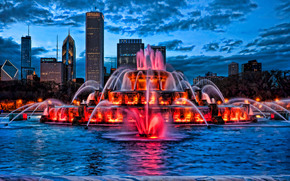 Buckingham Fountain, lit at dusk, Chicago
