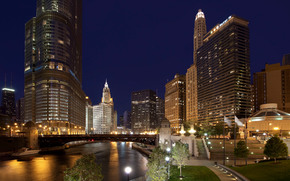 chicago, USA, illuminated, city, night