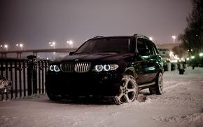 bmw, X5, BMW, inverno, notte