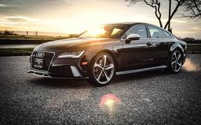 Audi, RS7, Ауди, черная, закат