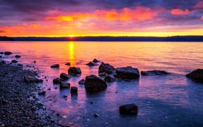 Seal Rock Campground, Parque Nacional Olympic, Washington, puesta del sol