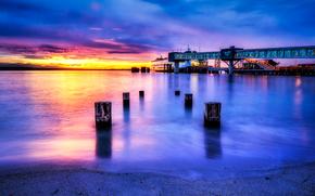 Edmonds, Washington, tramonto, porto, paesaggio