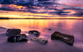 Edmonds, Washington, spiaggia, tramonto, paesaggio