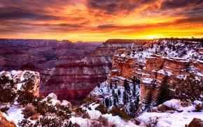 Grand Canyon, Asta della bandiera, Arizona, tramonto, Montagne, Rocce, paesaggio
