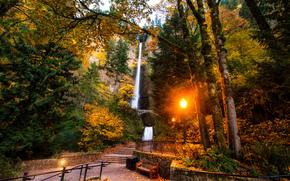 Ущелье Реки Колумбия, штат Орегон, Multnomah Falls, парк, пейзаж