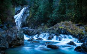 Rainier National Park, Cascada, Washington, río, cascada, paisaje