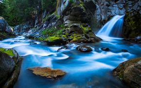 Rainier National Park, Waterfall, Washington, river, waterfall, landscape