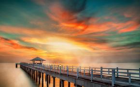 mar, naturaleza, puente, cielo, PEARCE, puesta del sol, paisaje