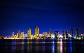 San Diego, Coronado, ciudad, noche