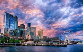 Seattle, Ferris Wheel, Sunset on the Seattle waterfront