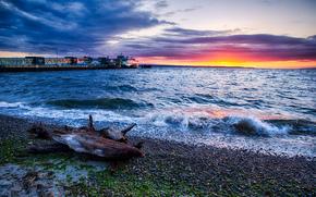Beautiful Beach, tramonto, Edmonds, Washington, tramonto