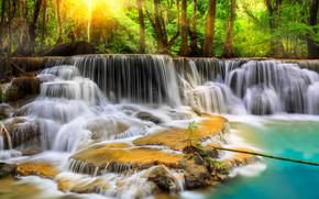 cascata, Thailandia, alberi, natura