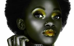 czarny, loki, złoto, usta, oczy, twarz, palce, afro