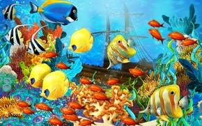 океан, рыбы, корабль