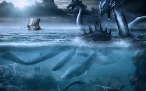 monsters, Dragons, Shark, ships, Fantasy