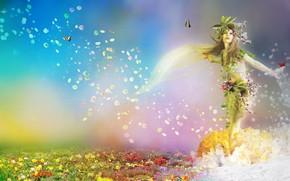 девушка, поле, бабочки, 3d, art