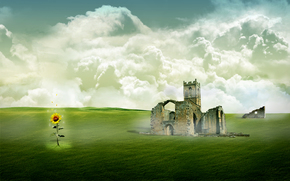 поле, подсолнух, руины