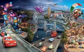 машины, города, 3d, art, креатив