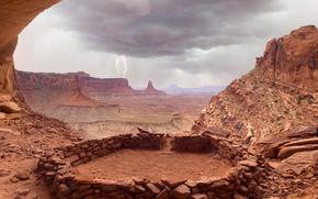 rock, valley, Thunderstorm