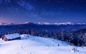 зима, горы, лес, домик, млечный путь, пейзаж