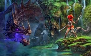dragon fin soup, ridding hood, Wolf, Dragon, gun
