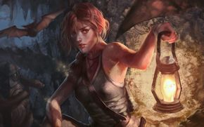 xiao botong, Tomb Raider, girl, lamp, bat, art
