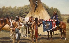 John Fawcett, Bandiera del Capo, Indiani, immagine, Cavalli, bandiera