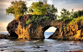 mare, roccia, arco, paesaggio