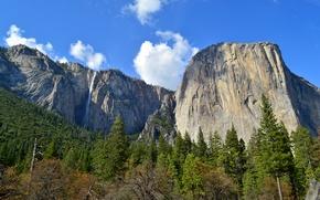 Parque Nacional de Yosemite, Montañas, árboles, paisaje