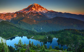 Montañas, lago, árboles, paisaje