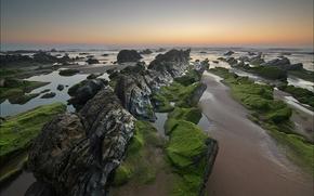 sunset, sea, ebb, Rocks, stones, landscape