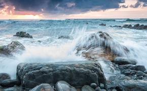 mare, onde, spruzzo, pietre, puntellare, paesaggio