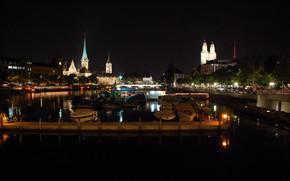 Zurigo, Svizzera, città, notte