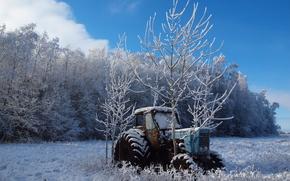 hiver, domaine, arbres, tracteur, paysage