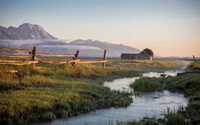 река, горы, забор, домик, пейзаж