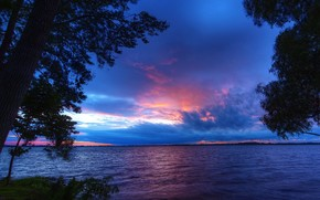 Canad?, p?r do sol, Ont?rio, paisagem, perto dos baixios