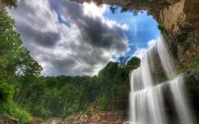 cascada, Rocas, piedras, árboles, paisaje
