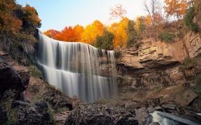 cascata, Rocce, pietre, autunno, alberi, paesaggio
