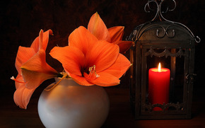 Lilies, Flowers, vase, candle, still life