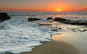 закат, море, берег, скалы, пейзаж