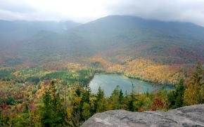 Adirondacks, New York, осень, озеро, лес, деревья, пейзаж