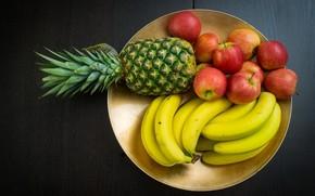 food, Helpful, fruit, pineapple, banana, apples, plate, background, wallpaper, Widescreen, fullscreen, Widescreen, HD wallpapers, background, wallpaper, widescreen, fullscreen