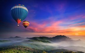 Palloncini, Montagne, foresta, nebbia, mattinata, DAWN