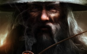 Gray, lord of the rings, magician, табак, beard, tube, Art, hat, Gandalf