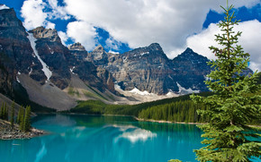 Moraine Lake, Banff National Park, озеро, горы, пейзаж