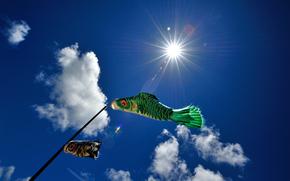 небо, облака, рыбы
