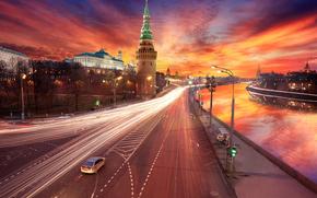tramonto, Mosca, lavorazione, Cremlino