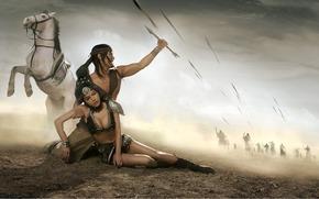 хвостик, парень, мужчина, фэнтази, ранение, конь, усталость, злость, белый, девушка, стрелы