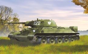 танк, рыжик, экипаж, Советский, средний, тридцатьчетверка, польский, образца